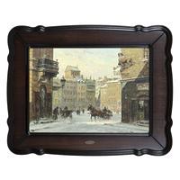 Репродукция картины Зима, городской пейзаж с конными экипажами